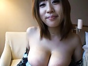 Mina Asian slutty pouring lots of saliva on her gigantic boobies