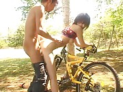 Yua Aida Asian gets peach nailed from behind sitting on her bike