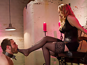 Aiden Starr punishes and humiliates new slaveboy with CBT, cock caning, large strap-on ass fucking and cum eating instructions.