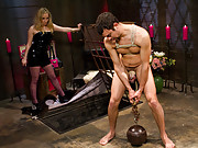 Pussy boy is locked in chastity, beaten, butt fucked made to worship pussy and ass then totally denied!