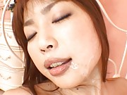 Risa Kasumi Asian fucked in hairy cunt with juicy jugs shaking