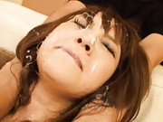 Maomi Nagasawa has vibrators on tits and cunt and sperm on face