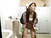 Japanese AV Model cleaning miss is screwed in cunt on toilet seat
