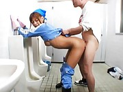 Japanese AV Model is cleaning babe having muff fingered at toilet