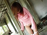 Aki Katase Asian all nude and with round cans fingered on yard