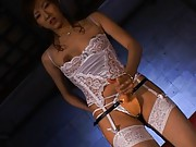 Hiromi Aoyama Asian puts strip on over her pussy and fucks dude