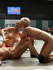 4 girls, 2 teams, 8 breasts. The ultimate non-scripted Tag team event. All in front of a live audience!  Brutal 2 on 1