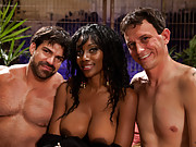 Amazon African goddess; Nyomi Banxxx, gets her luscious black ass worshiped by two white slaveboys then drills one in the ass till he pisses himself.