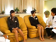 Japanese AV Model with other gal is kissed and fondled by guys
