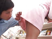 Mihiro Asian cupcake gets man looks under her skirt at shopping