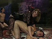 Slaveboy strap-on fucked in humiliating pile driver while locked in chastity and brutally teased and denied!