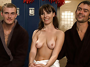 Brat princess Dana Dearmond cuckolds her boyfriend with the sexy football coach then humiliatingly jerks the coach off into her boyfriends mouth