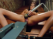 MILF machine fucked! Her large clit suctioned tight to a bullet vibe with the sybian on HIGH. She fucks big dick & cums multiples from Doc Thumper