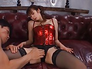 Erika Kirihara Asian with red corset and stockings is touched