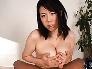 Rin Aoki Asian sucks joystick and takes it between immense bust