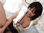 Mako Takeda Asian sucking the sex toy that will screw her nooky