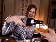 Yui Tatsumi Asian rides cock after having more champagne glasses
