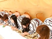 Japanese AV Model and many other chicks put their bums in holes