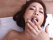 Risa Kasumi Asian with very appetizing boobs is drilled on floor