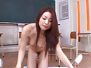 Risa Kasumi Asian student all naked strokes dong in the classroom