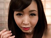 Marika Asian whore trying to lick with tongue the cum from face