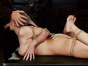 Big titted girl next door, is severely bound, elbows together, hogtied, made to cum over and over, skull fucked and abused. left suffering in bondage!
