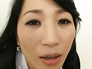 Natsumi Kitahara strokes and sucks boner and pours cum in palm