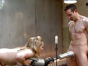 Bitchboy is brutally teased and denied by Goddess Aiden Starr with the power tool fucksall rubber pussy.