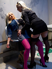 Hot Euro babe is taken advantage of, punished and ass fucked by hot blonde lesbian stranger in a public bathroom.