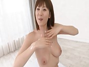 Yuma Asami Asian proud of cum she got on big tits from fellows