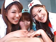 Japanese AV Model watches two nurses kissing after sharing boner