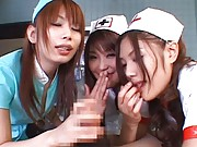 Japanese AV Model and two nurses are sucking and exploring boner