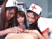 Japanese AV Model and other two nurses takes patient dick to suck