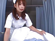 Hikari Hino nurse uncovers patient to lick him all over his body