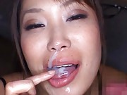 Japanese AV Model putting all cum in mouth after she sucked cock