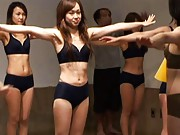 Japanese AV Model and other babes in gym suits are moving sexy