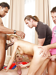 A chance encounter with her new neighbor took Sunshine's mind off her problem with her boyfriend; fucking four guys at the same time took her mind off of everything else.