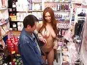 Ai Sayama Asian invites man to feel her big naked boobs in store