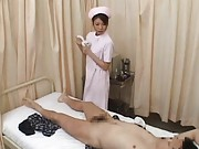 Japanese AV Model and nurse clean patient phallus to suck it