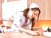 Millia Asian nurse with big jugs is fingered and offers blowjob