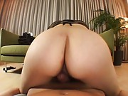 Japanese AV Model screaming as her holes are nailed from behind