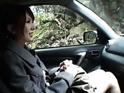 Yui Hatano Asian is touched on peach and on tits in the woods