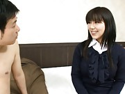 Megumi Morishita has office blouse undressed while she is kissed