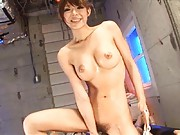 Rukia Mochizuki with big cans has juices pouring from her vagina