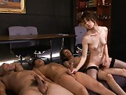 Maki Houjo Asian jumps from one dick to other two cocks she rubs