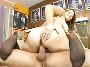 Chubby babe in stockings fucked