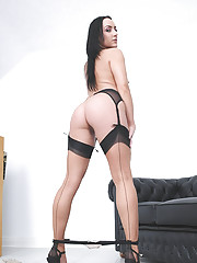 Nylons and heels slim brunette milf