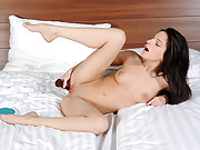 Desirable fuck bunny uses her makeup brush to get off