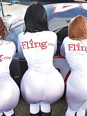 Amazing hot pornstarks fuck a race car driver in pit lane before the race