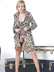 British milf sexy coat and nylons